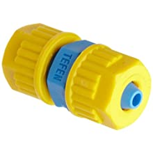 Tefen Fiberglass Polypropylene Compression Tube Fitting, Union, Yellow/Blue, Tube OD