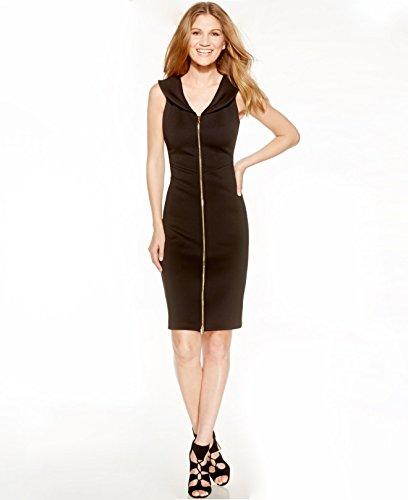 Calvin Klein Front Zip Scuba Bodycon Dress Black 2p