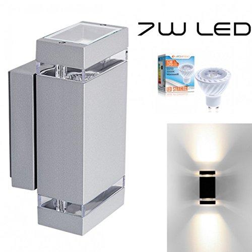 Hochwertige-LED-Wandleuchte-UpDown-Alu-inkl-2x-LED-GU10-Markenstrahler-von-LEDANDO-7W-grau-warmwei-fr-Innen-und-Auen-IP44