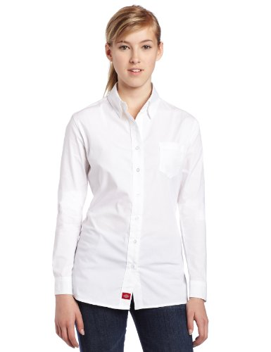 Dickies Girl Juniors Long Sleeve Button Front Poplin Shirt,White,Small