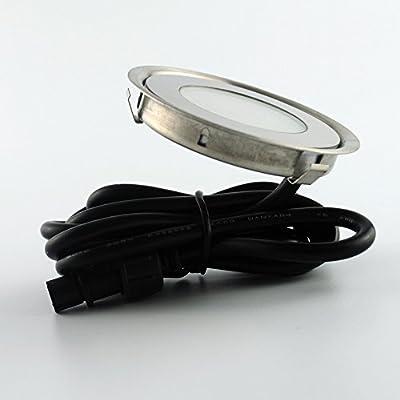 9mm Außenbeleuchtung LED Deck Licht Edelstahl runden wasserdichtes IP67 Lamp 6pcs SMD3350 LED Satz 6er Pack mit Kabel und Netztrafo