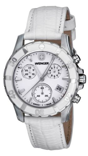 Wenger Women's 70741 Sport Chrono White Dial White Leather Watch