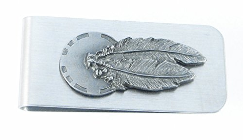 Native American Sculpted Pewter Moneyclip - Concho & Feathers