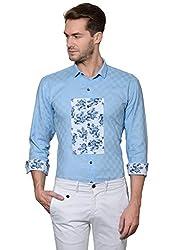 Edjoe Men's Blue Printed Chest box Slimfit Club/Partywear Shirt,BLEDMS0221