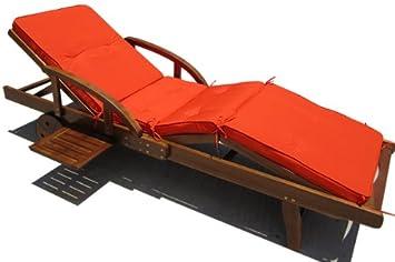 Coussin pour transat chaise chaise longue de jardin orange 4 segments segments 195 cm - Coussin de chaise orange ...