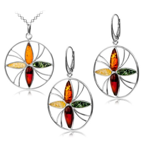 Multicolor Amber Sterling Silver Flower Simbol of Life Earrings and Pendant on Rolo Chain Set 18 Inches