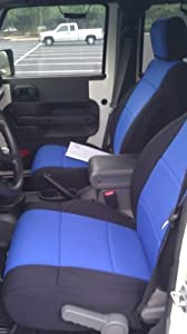2008 Jeep Wrangler JK Coverking CR-Grade Neoprene Seat Covers Black with Blue Inserts - Rear Row - 2 Door