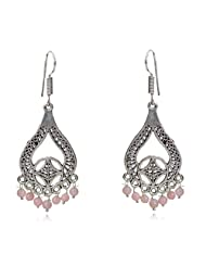 Awesome Oxidized Metal Long Earrings With Light Pink Beads By Lazreena