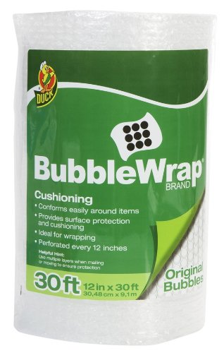 Duck Brand Bubble Wrap Protective Packaging, 12-Inch Wide Roll, 30-Feet x 0.18 Inches, Clear (10230)