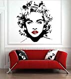 Iconic Stickers - Madonna Banksy Music Celebrity Wall Mural Sticker Decoration Vinyl Art Girl C19 - Mirror Image - Size: Medium - Colour: Black