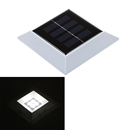 Dbpower Waterproof Solar Powered 4 Led Auto Darkness Sensor Stairway Outdoor Garden Fence Path Wall Light Ni-Mh Battery White