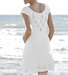 FemPool Women Charming Scoop Neck Lattice Crochet Dress Beach Cover Ups