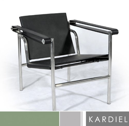 Kardiel Le Corbusier Style LC1 Basculant Sling Chair, Black Saddle Leather