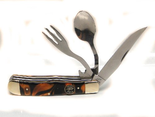 Ocoee River Knife, Fork, & Spoon Camp Pocket Knife With Sheath