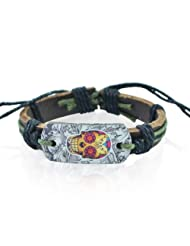 """ALPHA MAN Men's Fashion Accessories """"Skullsman in Monochrome"""" Olive Green and Black Thread-Woven Strap Faux Leather..."""