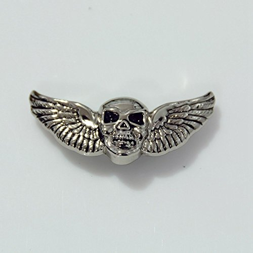 Double Skull Wings Biker Concho / Emblem, for Harley Motorcycle Leather. Screw back / Also can be used in any Leather - Belt / Saddle . Winged