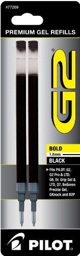 Pilot Corp Of America Gel Refills, Bold, 2/Pack, Black