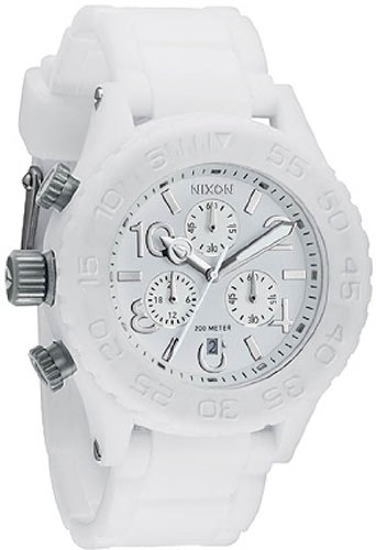 NIXON RUBBER 42-20 CHRONO A3091250 LADIES STAINLESS STEEL CASE DATE WATCH
