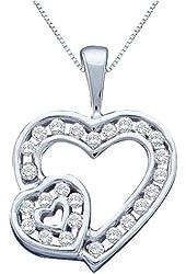 10K Yellow/White Gold 1/4 ct. Diamond Heart Pendant with Chain