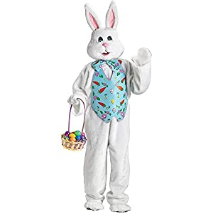 FunWorld Adult Easter Bunny Mascot,White/Blue,One Size Costume