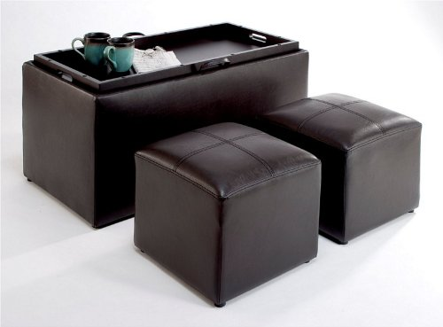 Espresso Faux Leather Coffee Table Bench Side Ottomans Storage Box Serving Tray Ebay