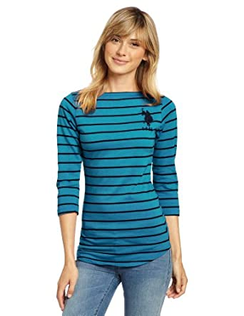 US Polo Assn. Juniors Striped Boat Neck Top, Metal Turquoise, Medium