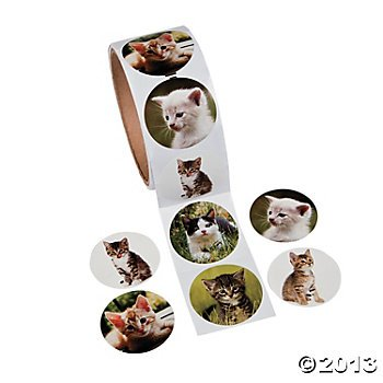 OTC - 100 Adorable KITTY CAT Stickers Kitten/KITTIES, Roll of 100