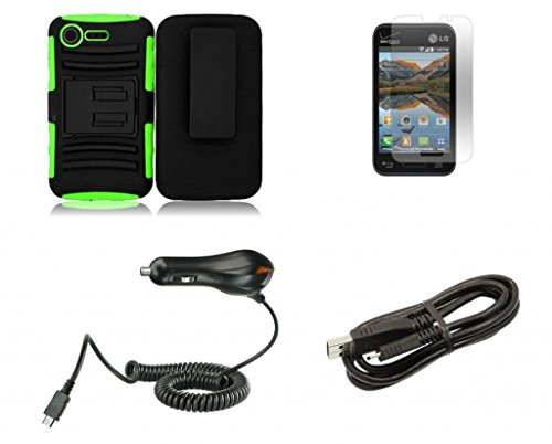 Lg Optimus Zone 2 Vs415Pp (Verizon) - Black And Neon Green Impact Protective Armor Kickstand Hybrid Combat Cover Case + Locking Swivel Belt Clip Holster + Atom Led Keychain Light + Screen Protector + Micro Usb Cable + 1A (1100 Mah) Output Micro Usb Car Ch