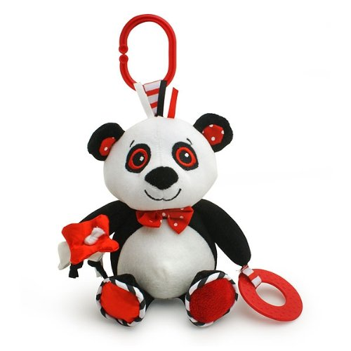 Piper the Panda - black, white & red, baby travel toy