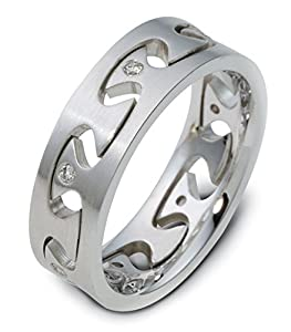 Mens Sterling Silver, Puzzle Ring 6MM Band, 1/10 cttw