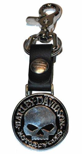 Harley Davidson® Men's Skull Sculpted Key Fob / Bottle Opener. Detachable Strap with Bar & Shield Snap. K75H