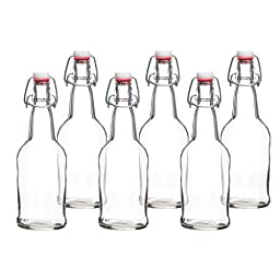 California Basics Home Brewing 16 oz Glass Bottles with Caps for Beer, Kombucha, Clear, Reusable (Set of 6)