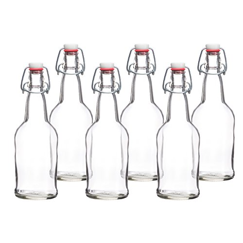 california-home-goods-16-ounce-glass-brewing-bottles-with-ez-caps-for-beer-kombucha-clear-reusable-s