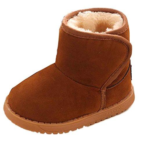 Kingko® Moda inverno dei pattini di bambino del cotone dei bambini Stivali Tenere Stivali da neve calda (13,5cm, Marrone)