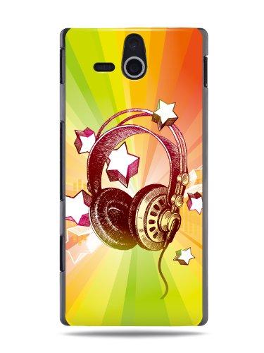 "Grüv Premium Case - ""Colorful Music Dj Headphones & Stars"" Design - Best Quality Designer Print On Black Hard Cover - For Sony Ericsson Xperia U St25I"