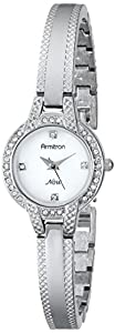 Armitron Women's 75/5219MPSV Swarovski Crystal Accented Silver-Tone Textured Bangle Watch