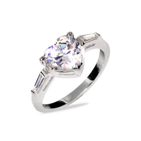 Heart Shaped CZ Sterling Silver Promise Ring Size 6 (Sizes 5 6 7 8 9 Available)
