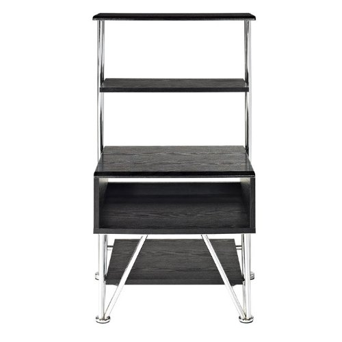 Altra Furniture Rade Entertainment Media Stand, Black and Silver Finish
