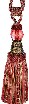 Xia Home Fashions Artisan Oversized Glass Ball Tassels Rose Red