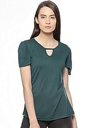 Vvoguish OLIVE GREEN Solid Print 100% Cotton Top VVTOP1236OGRN_XL