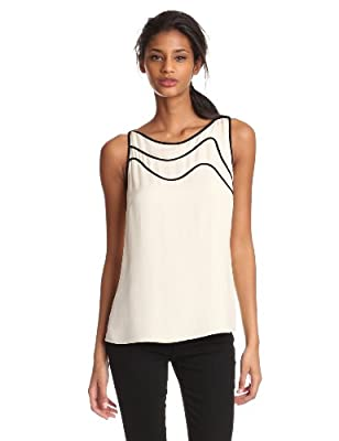 HALSTON HERITAGE Women's Sleeveless Boatneck Top With Piping by Halston Heritage Women's Collection