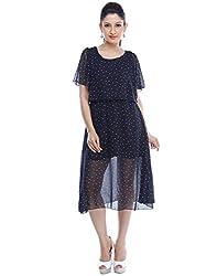 Designeez Black Polka Print A-line Dress