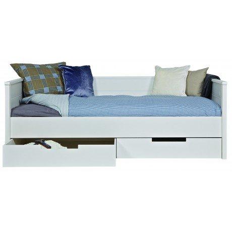 Alfred & Compagnie - Lit sofa bois massif 90x200 Blanc Kaja