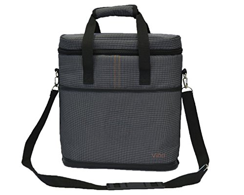 Vina 3 Bottle Wine Carrier - Travel Insulated Wine Carrying Case Tote Bag for Champagne Picnic Cooler Gray + Free Corkscrew (Portable Champagne Cooler compare prices)