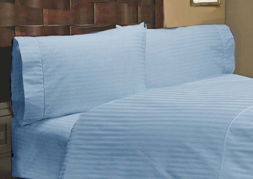 "500 Thread Count 100% Egyptian Cotton Stripe Blue Twin Xxl 18"" Deep Pocket Sheet Set front-880937"