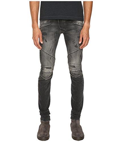 pierre balmain men 39 s classic distressed biker jeans black denim jeans 34 x 34. Black Bedroom Furniture Sets. Home Design Ideas