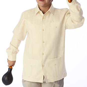 Boy's Long Sleeve Guayabera, in Ivory.