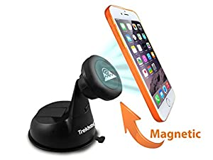 Universal Car Phone Mount - PhoneRider (TM) - The Ultimate Cell Phone Mount Holder For Travel & Home Use | Best Grip to Dashboard, Windshield, Desk etc. | Strongest Magnetic Head Securely Mounts Mobile Cell Phones, Phablets, GPS, Small Tablets Including Samsung Galaxy S5/Note 4, iPhone 5s/5c/6/6 Plus(6+), LG G3 etc. | Fully Adjustable | Top Rated Customer Service | Unbeatable 5-YEAR Guarantee