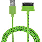 VEO | Câble USB tressé, recharge et synchronisation pour iPhone 4 / 4S, iPhone 3G / 3GS, iPad, iPod, 1m, VERT