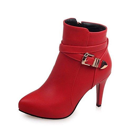 AllhqFashion Donna Tacco Medio Bassa Altezza Chiodato Cerniera Stivali con Fibbia, Rosso, 35